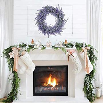 Pauwer 40 cm Künstliche Lavendel Haustür Kranz Im Freien Blume Kranz für Haustür Hängen Wand Fenster Hochzeit Party Decor - 5