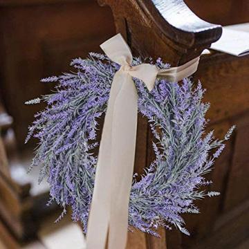 Pauwer 40 cm Künstliche Lavendel Haustür Kranz Im Freien Blume Kranz für Haustür Hängen Wand Fenster Hochzeit Party Decor - 6