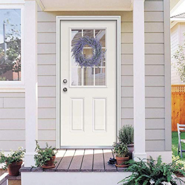 Pauwer 40 cm Künstliche Lavendel Haustür Kranz Im Freien Blume Kranz für Haustür Hängen Wand Fenster Hochzeit Party Decor - 7
