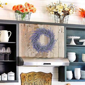 Pauwer 40 cm Künstliche Lavendel Haustür Kranz Im Freien Blume Kranz für Haustür Hängen Wand Fenster Hochzeit Party Decor - 8