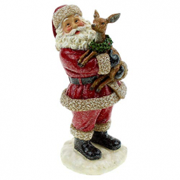 pille gartenwelt Hochwertige Deko Figur Weihnachtsmann mit REH für innen und außen | Dekoration Weihnachten altdeutsch - 1