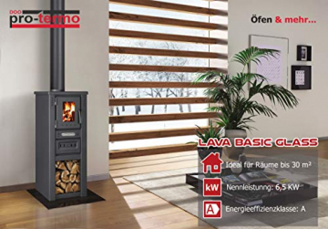 ProTermo Kaminofen Lava Basic Glass 6,5 kw, 33x36x82 cm Holzofen (Mit Sichtfenster) - 5