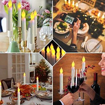 Raycare 12er Set LED Stabkerzen, Flammenlose Tafelkerzen, batteriebetrieben Harry Potter Kerzen für Muttertagsgeschenk, Party, Hochzeit, Kirche Dekorationen (MEHRWEG) - 5