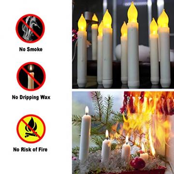 Raycare 12er Set LED Stabkerzen, Flammenlose Tafelkerzen, batteriebetrieben Harry Potter Kerzen für Muttertagsgeschenk, Party, Hochzeit, Kirche Dekorationen (MEHRWEG) - 6