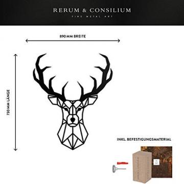 Rerum & Consilium geometrischer Hirschkopf XL in Schwarz | Made in Germany | 89x73 cm | 1,4 kg | unsichtbare Befestigung | Stahl | Hirschkopf/Hirschgeweih Hirsch Wandskulptur Industrial Deko - 2