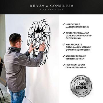 Rerum & Consilium geometrischer Hirschkopf XL in Schwarz | Made in Germany | 89x73 cm | 1,4 kg | unsichtbare Befestigung | Stahl | Hirschkopf/Hirschgeweih Hirsch Wandskulptur Industrial Deko - 4