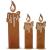 SIDCO Kerze Edelrost 3 x Rostoptik Kerzen rustikal Kerzenset Rostdeko Garten Deko - 2