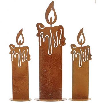 SIDCO Kerze Edelrost 3 x Rostoptik Kerzen rustikal Kerzenset Rostdeko Garten Deko - 1