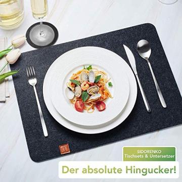 Sidorenko Edles Platzset aus Filz mit Untersetzer - 12er Set anthrazit - Tischset Abwischbar 44x32cm - Filzuntersetzer - abwaschbare Tischuntersetzer Platzdeckchen - grau Filzmatte - 3