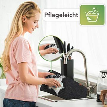 Sidorenko Edles Platzset aus Filz mit Untersetzer - 12er Set anthrazit - Tischset Abwischbar 44x32cm - Filzuntersetzer - abwaschbare Tischuntersetzer Platzdeckchen - grau Filzmatte - 4