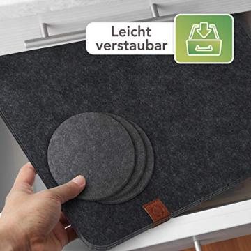 Sidorenko Edles Platzset aus Filz mit Untersetzer - 12er Set anthrazit - Tischset Abwischbar 44x32cm - Filzuntersetzer - abwaschbare Tischuntersetzer Platzdeckchen - grau Filzmatte - 5