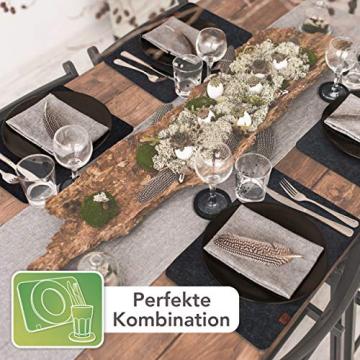 Sidorenko Edles Platzset aus Filz mit Untersetzer - 12er Set anthrazit - Tischset Abwischbar 44x32cm - Filzuntersetzer - abwaschbare Tischuntersetzer Platzdeckchen - grau Filzmatte - 6