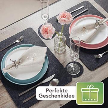 Sidorenko Edles Platzset aus Filz mit Untersetzer - 12er Set anthrazit - Tischset Abwischbar 44x32cm - Filzuntersetzer - abwaschbare Tischuntersetzer Platzdeckchen - grau Filzmatte - 7
