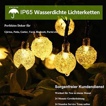 Solar Lichterkette aussen, 50LED 23ft 8 Modi Solar Kristall Kugeln wasserdicht Außer/Innen Lichter Beleuchtung für Garten, Bäume, Terrasse, Weihnachten, Hochzeiten, Partys (warmweiß) - 2