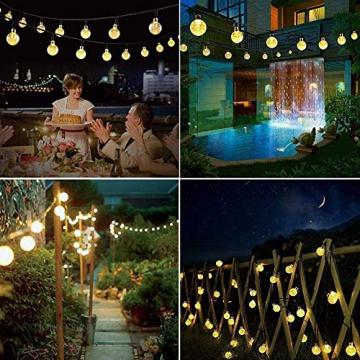 Solar Lichterkette aussen, 50LED 23ft 8 Modi Solar Kristall Kugeln wasserdicht Außer/Innen Lichter Beleuchtung für Garten, Bäume, Terrasse, Weihnachten, Hochzeiten, Partys (warmweiß) - 5