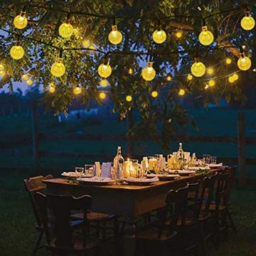 Solar Lichterkette aussen, 50LED 23ft 8 Modi Solar Kristall Kugeln wasserdicht Außer/Innen Lichter Beleuchtung für Garten, Bäume, Terrasse, Weihnachten, Hochzeiten, Partys (warmweiß) - 7