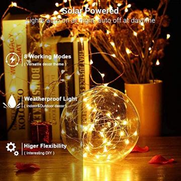 Solar Lichterkette Aussen, BrizLabs 24M 240 LED Außen Lichterkette Wasserdicht Kupferdraht Solarlichterkette 8 Modi Deko für Weihnachten Garten, Balkon, Terrasse, Bäume, Hochzeit, Party, Warmweiß - 2
