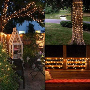 Solar Lichterkette Aussen, BrizLabs 24M 240 LED Außen Lichterkette Wasserdicht Kupferdraht Solarlichterkette 8 Modi Deko für Weihnachten Garten, Balkon, Terrasse, Bäume, Hochzeit, Party, Warmweiß - 4