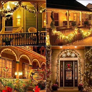 Solar Lichterkette Aussen, BrizLabs 24M 240 LED Außen Lichterkette Wasserdicht Kupferdraht Solarlichterkette 8 Modi Deko für Weihnachten Garten, Balkon, Terrasse, Bäume, Hochzeit, Party, Warmweiß - 5
