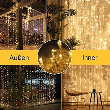 Solar Lichtervorhang Aussen, FANSIR 3 X 3m 300 LED Lichterketten Vorhang 8 Modi Fernbedienung Wasserdicht Solar Lichterketten Aussen für Gartendeko Balkon Hochzeit Weihnachten Innen (Warmweiß) - 2