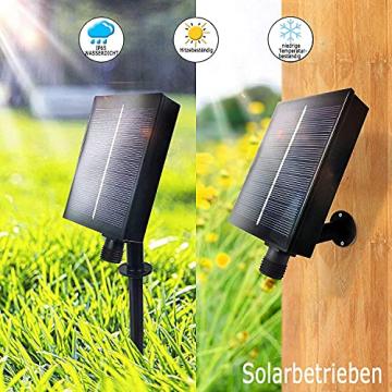 Solar Lichtervorhang Aussen, FANSIR 3 X 3m 300 LED Lichterketten Vorhang 8 Modi Fernbedienung Wasserdicht Solar Lichterketten Aussen für Gartendeko Balkon Hochzeit Weihnachten Innen (Warmweiß) - 3