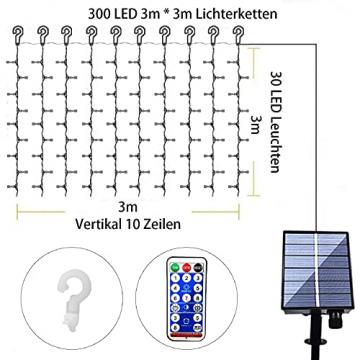 Solar Lichtervorhang Aussen, FANSIR 3 X 3m 300 LED Lichterketten Vorhang 8 Modi Fernbedienung Wasserdicht Solar Lichterketten Aussen für Gartendeko Balkon Hochzeit Weihnachten Innen (Warmweiß) - 6