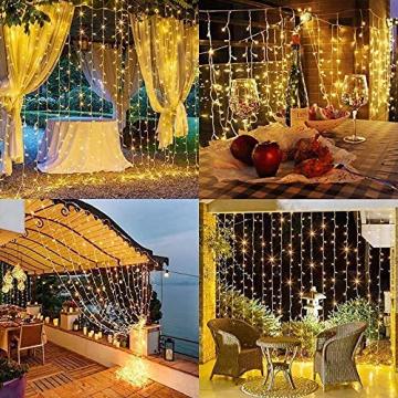 Solar Lichtervorhang Aussen, FANSIR 3 X 3m 300 LED Lichterketten Vorhang 8 Modi Fernbedienung Wasserdicht Solar Lichterketten Aussen für Gartendeko Balkon Hochzeit Weihnachten Innen (Warmweiß) - 7