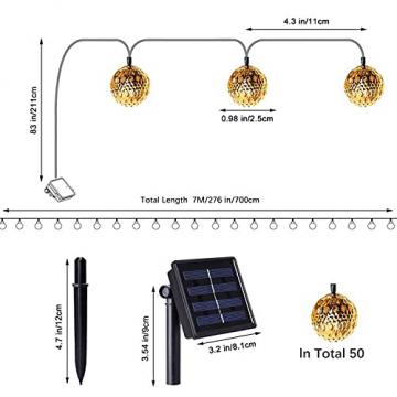 Solar Marokkanische Lichterketten Außen, NLNEY LED 7M 50er Lichterketten Aussen, 8 modi Solar Lichterkette Wasserdicht Lichter Beleuchtung für Garten, Terrasse, Hof, Haus, Weihnachten, Party - 3