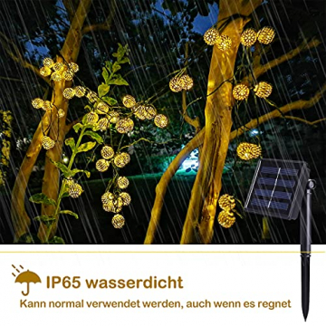 Solar Marokkanische Lichterketten Außen, NLNEY LED 7M 50er Lichterketten Aussen, 8 modi Solar Lichterkette Wasserdicht Lichter Beleuchtung für Garten, Terrasse, Hof, Haus, Weihnachten, Party - 5