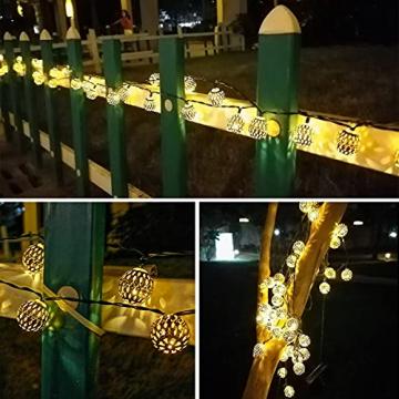 Solar Marokkanische Lichterketten Außen, NLNEY LED 7M 50er Lichterketten Aussen, 8 modi Solar Lichterkette Wasserdicht Lichter Beleuchtung für Garten, Terrasse, Hof, Haus, Weihnachten, Party - 6