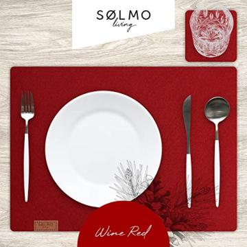 sølmo I 12er Premium Platzsets aus Filz Tischset Platzset 42x32 cm abwaschbar Filzuntersetzer Platzdeckchen Untersetzer Teller Platzset + Glas Untersetzer Echtholz Tisch geeignet Rot, Wine Red - 2