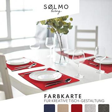 sølmo I 12er Premium Platzsets aus Filz Tischset Platzset 42x32 cm abwaschbar Filzuntersetzer Platzdeckchen Untersetzer Teller Platzset + Glas Untersetzer Echtholz Tisch geeignet Rot, Wine Red - 5