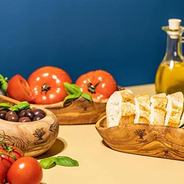 SOLTAKO 2er Set Olivenholz Baguette Brotschale Schale - Snackschale länglich - Rustikale Holzschale - Dekoschale - Obstschale - Handgemachte Schüssel – Schmuckschale - Mehrzweckschale - 3
