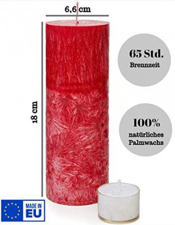 SOLUMAR | Premium Kerze Rot - Natürliche Handgemachte Palm Kerze mit speziellem Baumwolldocht - Auch für Allergiker - Brenndauer 65 Std. - 18 x 6,5 cm - Durchgefärbt - EU Made - (Gratis Teelichter) - 2