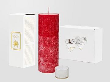 SOLUMAR | Premium Kerze Rot - Natürliche Handgemachte Palm Kerze mit speziellem Baumwolldocht - Auch für Allergiker - Brenndauer 65 Std. - 18 x 6,5 cm - Durchgefärbt - EU Made - (Gratis Teelichter) - 3