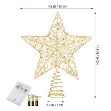 STOBOK Weihnachtsbaum Topper Stern Beleuchtet Baumkronen Ornament LED Licht Glitter Aushöhlampe für Weihnachten Party Ornament Dekorationen Golden - 3