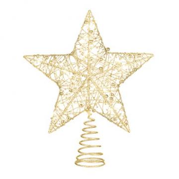 STOBOK Weihnachtsbaum Topper Stern Beleuchtet Baumkronen Ornament LED Licht Glitter Aushöhlampe für Weihnachten Party Ornament Dekorationen Golden - 1