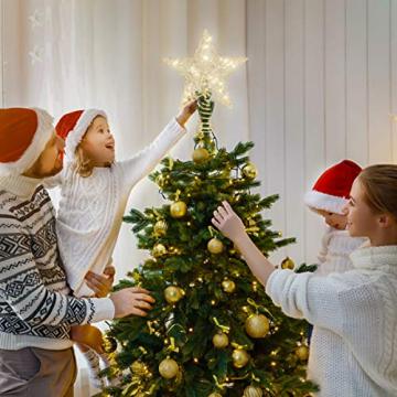STOBOK Weihnachtsbaum Topper Stern Beleuchtet Baumkronen Ornament LED Licht Glitter Aushöhlampe für Weihnachten Party Ornament Dekorationen Golden - 5
