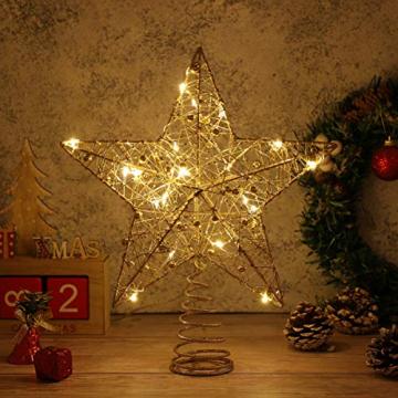STOBOK Weihnachtsbaum Topper Stern Beleuchtet Baumkronen Ornament LED Licht Glitter Aushöhlampe für Weihnachten Party Ornament Dekorationen Golden - 6