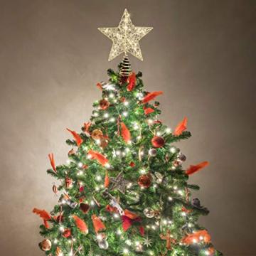 STOBOK Weihnachtsbaum Topper Stern Beleuchtet Baumkronen Ornament LED Licht Glitter Aushöhlampe für Weihnachten Party Ornament Dekorationen Golden - 8