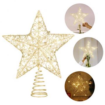 STOBOK Weihnachtsbaum Topper Stern Beleuchtet Baumkronen Ornament LED Licht Glitter Aushöhlampe für Weihnachten Party Ornament Dekorationen Golden - 9