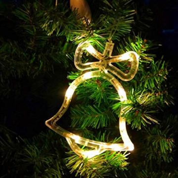 Sunshine smile LED Vorhang Licht, LED Fensterlicht Saugnapf,Kabelbeleuchtung,Fensterlichter,lichtervorhang Fenster led,Lichterkette,Lichtervorhang Lichter Weihnachtsbeleuchtung(6 Pcs) - 6