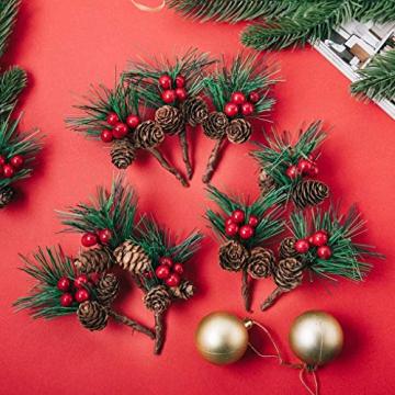 Super Idee 20 STK. Kleine künstliche Tannenzweige mit Beeren und Tannenzapfen Ideal für Weihnachtsdekoration Weihnachtsdeko Adventsdeko Aussen Innen selber Machen Basteln Adventkranz Advent Tischdeko - 3
