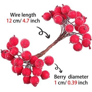 Tatuo Packung von 200 Stück Frosted Fruit Holly Beeren Mini Weihnachten Künstliche Berry Blume für Zuhause, Hochzeit, Party, Geburtstag, DIY Dekoration (Rot) - 3