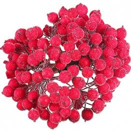 Tatuo Packung von 200 Stück Frosted Fruit Holly Beeren Mini Weihnachten Künstliche Berry Blume für Zuhause, Hochzeit, Party, Geburtstag, DIY Dekoration (Rot) - 1