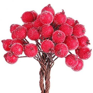 Tatuo Packung von 200 Stück Frosted Fruit Holly Beeren Mini Weihnachten Künstliche Berry Blume für Zuhause, Hochzeit, Party, Geburtstag, DIY Dekoration (Rot) - 4