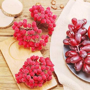 Tatuo Packung von 200 Stück Frosted Fruit Holly Beeren Mini Weihnachten Künstliche Berry Blume für Zuhause, Hochzeit, Party, Geburtstag, DIY Dekoration (Rot) - 5