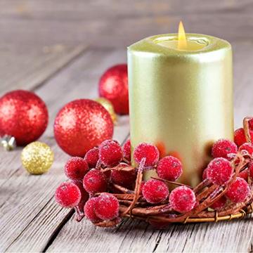 Tatuo Packung von 200 Stück Frosted Fruit Holly Beeren Mini Weihnachten Künstliche Berry Blume für Zuhause, Hochzeit, Party, Geburtstag, DIY Dekoration (Rot) - 6