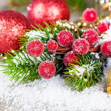Tatuo Packung von 200 Stück Frosted Fruit Holly Beeren Mini Weihnachten Künstliche Berry Blume für Zuhause, Hochzeit, Party, Geburtstag, DIY Dekoration (Rot) - 7