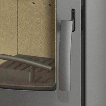 THERMIA Kaminofen Olympus E Stahl gussgrau, 7kW, ovale Form, abgerundete Sichtscheibe Bauart 1 Energieeffizienzklasse A+ Holzofen mit Holzfach 150mm Rauchrohr V6 - 3